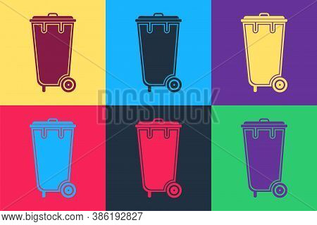 Pop Art Trash Can Icon Isolated On Color Background. Garbage Bin Sign. Recycle Basket Icon. Office T