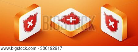 Isometric Shield And Cross X Mark Icon Isolated On Orange Background. Denied Disapproved Sign. Prote