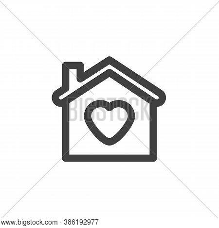 Home With Heart Line Icon. Linear Style Sign For Mobile Concept And Web Design. Love House Outline V