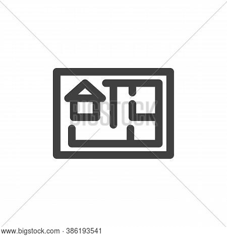 House Plan Line Icon. Linear Style Sign For Mobile Concept And Web Design. Home Blueprint Outline Ve