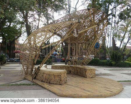 Denpasar, Indonesia - September 28, 2019: Rest Area Made Of Bamboo Installation On Puputan Square.