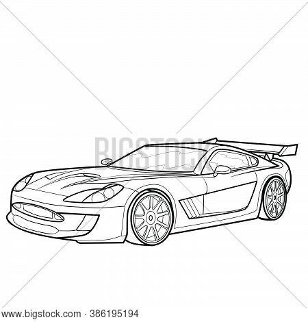 Car Sketch, Coloring Book, Isolated Object On White Background, Vector Illustration, Eps