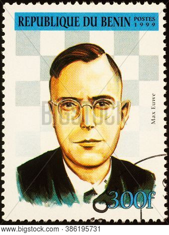 Moscow, Russia - September 19, 2020: Stamp Printed In Benin Shows Max Euwe (1901-1981), Dutch Chess