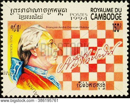 Moscow, Russia - September 18, 2020: Stamp Printed In Cambodia Shows Portrait Of Francois Andre Dani