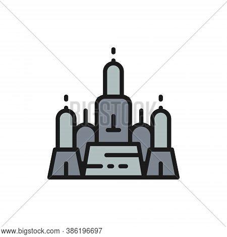 Towers Wat Arun, Temple Of Dawn, Ayutthaya City, Bangkok Flat Color Line Icon.