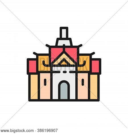 Royal Palace In Thailand, Bangkok Flat Color Line Icon.
