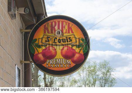 Sint Gillis Waas, Belgium, April 14, 2020, The Logo Of Kriek St Louis, A Well-known Belgian Beer Bas