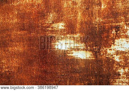 White Rust Metal Decayed Crumpled Sheet Wide Background. Weathered Iron Rusty Isolated Metallic Text