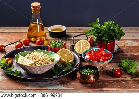 Set Of Ingredients Of The Classic Tabbouleh Recipe. Traditionally Food Levantine Vegetarian Salad Wi