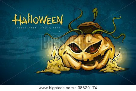 terrible smiling face of jack-o-lantern with candles in night. Vector illustration EPS10.
