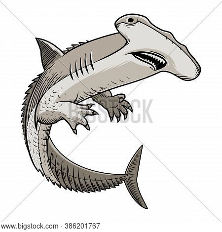 Shark-alligator. Monster Fish. Vector Illustration On White Background.fish Monster. A Hammerhead Sh