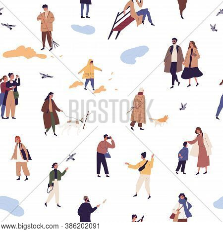 People In Autumn Clothes Or Outerwear Seamless Pattern. Man, Woman And Children Walking On Street An