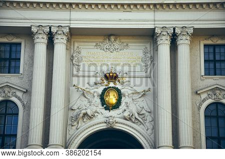 Wien, Austria - The Hofburg Palace In Vienna, Ancient Baroque Imperial Palace, Entrance Gate From Mi