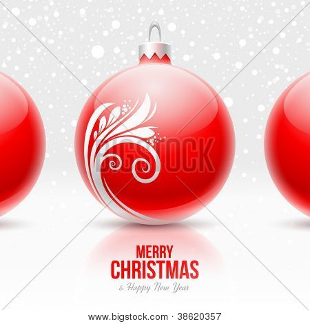 Red baubles with white decor - Christmas vector design