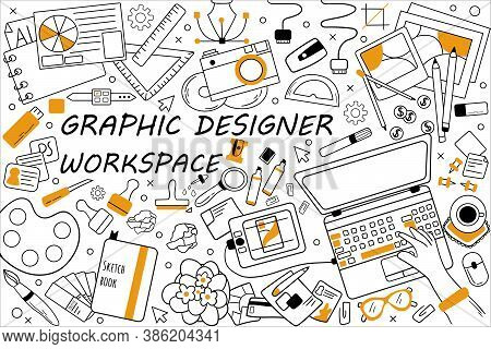 Graphic Designer Workspace Doodle Set. Collection Of Hand Drawn Sketches Templates Patterns Of Graph