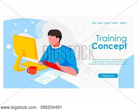 Training Concept Landing Page Template. Guy Student Sitting In Front Of Computer Screen Studying Onl