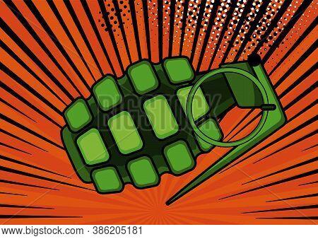 Pop Art Bomb On Comic Pop Art Retro Style Background. Terrorism Is A Danger Of Destruction. Wallpape