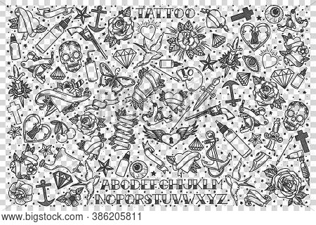 Tatoo Doodle Set. Collection Of Hand Drawn Sketches Templates Patterns Of Ink Skin Body Drawings Flo