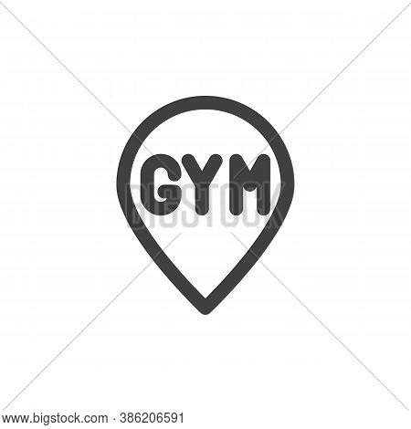 Gym Map Pointer Line Icon. Linear Style Sign For Mobile Concept And Web Design. Gym Location Pin Out