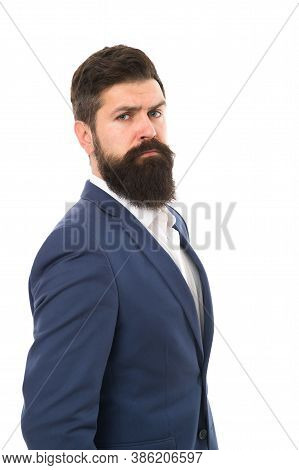 Businessman Concept. Brilliant Lawyer. Successful Businessman Well Groomed Appearance. Serious Motiv