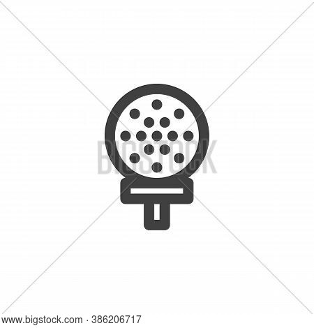 Golf Ball On Tee Line Icon. Linear Style Sign For Mobile Concept And Web Design. Golf Sport Outline
