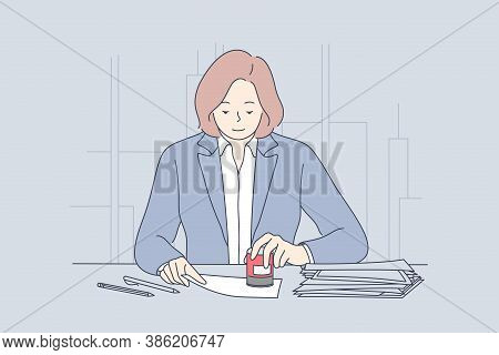 Business, Law, Accounting, Finance, Work Concept. Young Smiling Businesswoman Clerk Manager Lawyer A