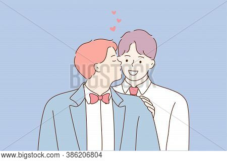 Wedding, Love, Feeling, Lgbt Concept. Young Happy Smiling Cheerful Newlywed Gay Coule Men Boys Guys