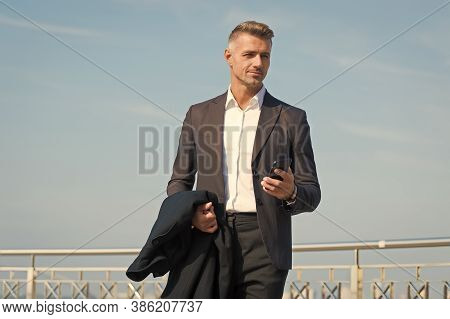Businessman Formal Outfit With Smartphone. Modern Life Concept. Boss On Way To Office. Use Phone Whi