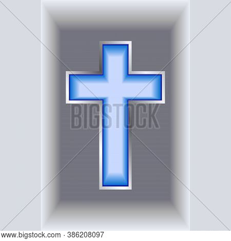 Blue Christian Cross. Sapphire With Silver Frame. Realistic Vector Illustration.