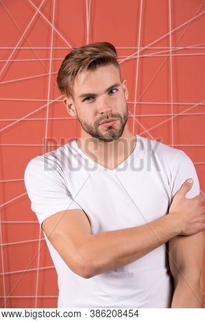 Man Bearded Guy Modern Hairstyle In Pensive Mood Pink Background. Simple Hacks To Make Hairstyle Bet