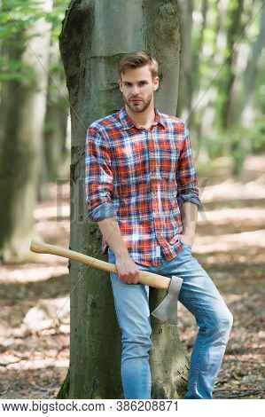 Ranch Man In Checkered Shirt Hold Ax, Style.