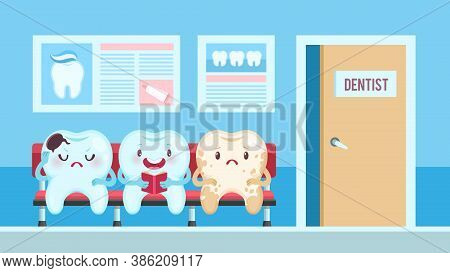 Cute Teeth In Dental Clinic. Dentist Waiting Room With Upset And Smiling Patients, Healthy And Achin