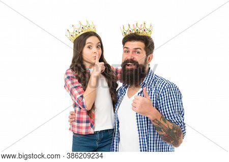 Best Kept Secret. Little Princess Keep Finger On Mouth With Secret. Silence Gesture. Big Boss Show T