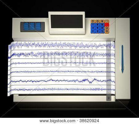 Encephalogram isolated on balck backdrop