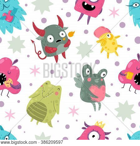 Monsters Seamless Pattern. Funny Incredible Creatures With Smiles Cute Goofy Faces Characters, Color