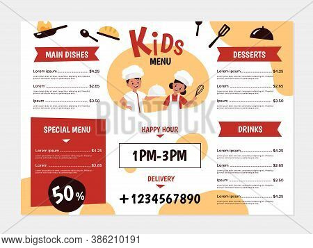 Kids Menu. Young Chefs And Kitchenware, Boys And Girls Cook Tasty Food, Design For Cafe Or Restauran