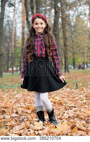 Kid Fashion For Study. Child Wear Uniform In Fall Forest. Concept Of Knowledge Day. Kid In Autumn Pa