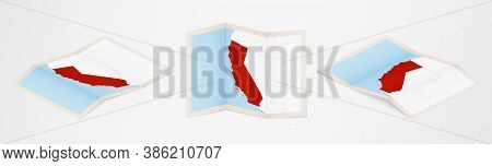 Folded Map Of California In Three Different Versions. Vector Map Of California.