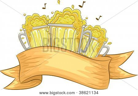 Banner Illustration Featuring Beer Mugs Overflowing with Fizz