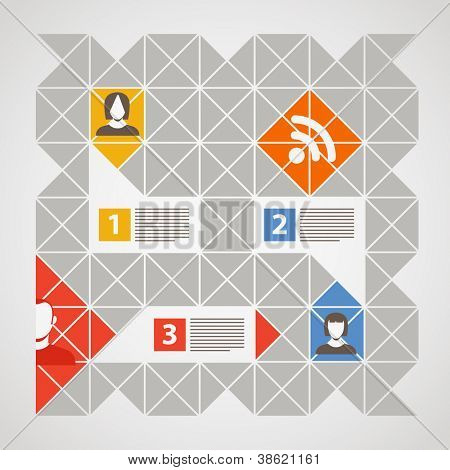 poster of Modern color social media content template with icons