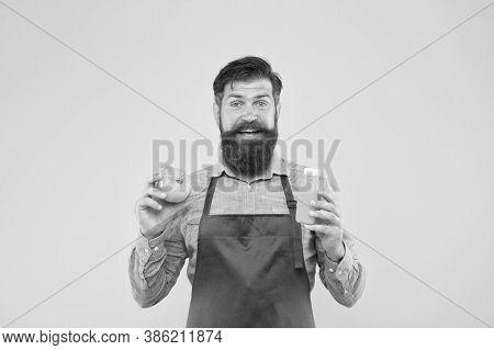 Delivering Fresh Vitamins. Hipster Smoothie Beverage. Fresh Juice. Squeezing Smoothie. Man Bearded C