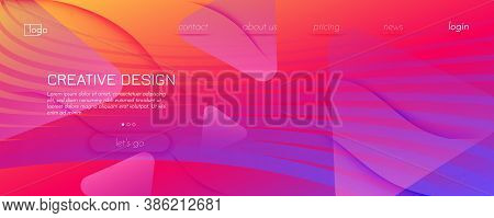 Bright Fluid Shape. Flow Abstract Flyer. Color Geometric Lines. Creative Fluid Shape. Graphic Poster