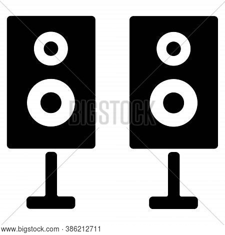 Sound System Icon Illustration. Two Column Bass Music Speakers Symbol.