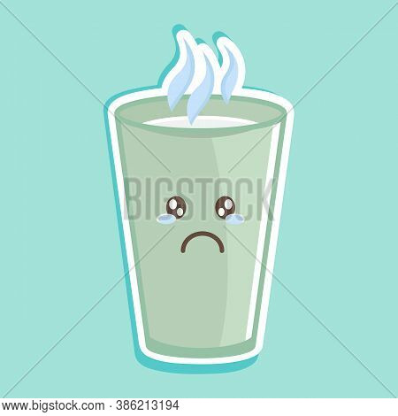 Simple Vector Illustration A Cup Of Hot Milk With A Cute Expression. Cute Character. Sad Face. Hot D