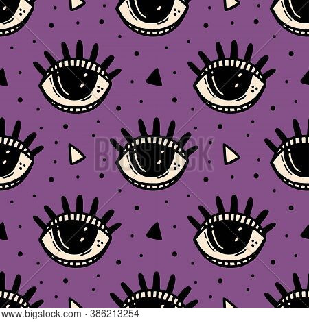 Black Eye, Magic Symbol. Halloween Seamless Pattern. Holiday Packaging Paper Design. Esoteric, Super