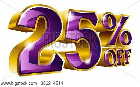 Vector 25% Off - Five Percent Off Discount Gold And Violet Sign.