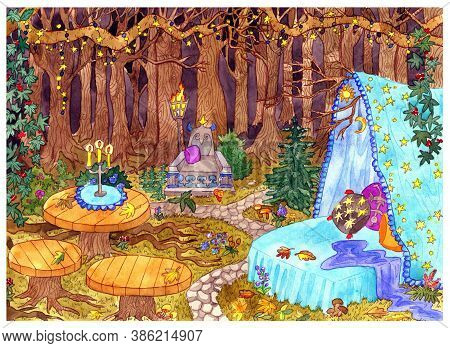 The Witch Place. Mystic Scene With Bed, Tables And Throne In Fable Forest With Trees And Lanterns. H