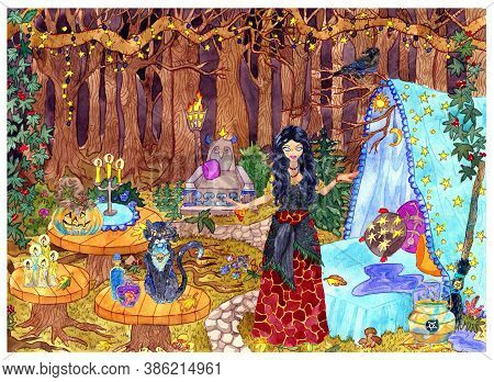 Beautiful Witch With Cat And Traditional Halloween Symbols At Mystic Place In Fable Forest. Hand Dra