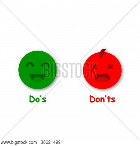 Do And Don't Symbols With Emoji. Green And Red Emoji