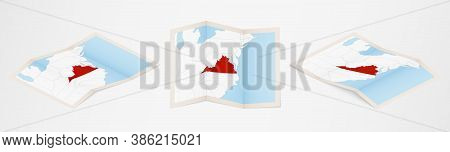 Folded Map Of Virginia In Three Different Versions. Vector Map Of Virginia.